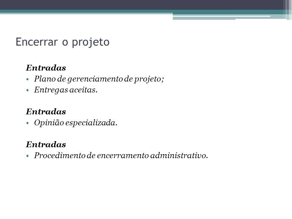 Encerrar o projeto Entradas Plano de gerenciamento de projeto;