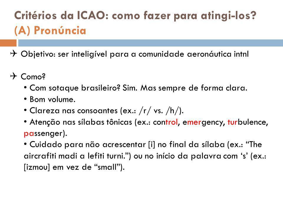 Critérios da ICAO: como fazer para atingi-los (A) Pronúncia