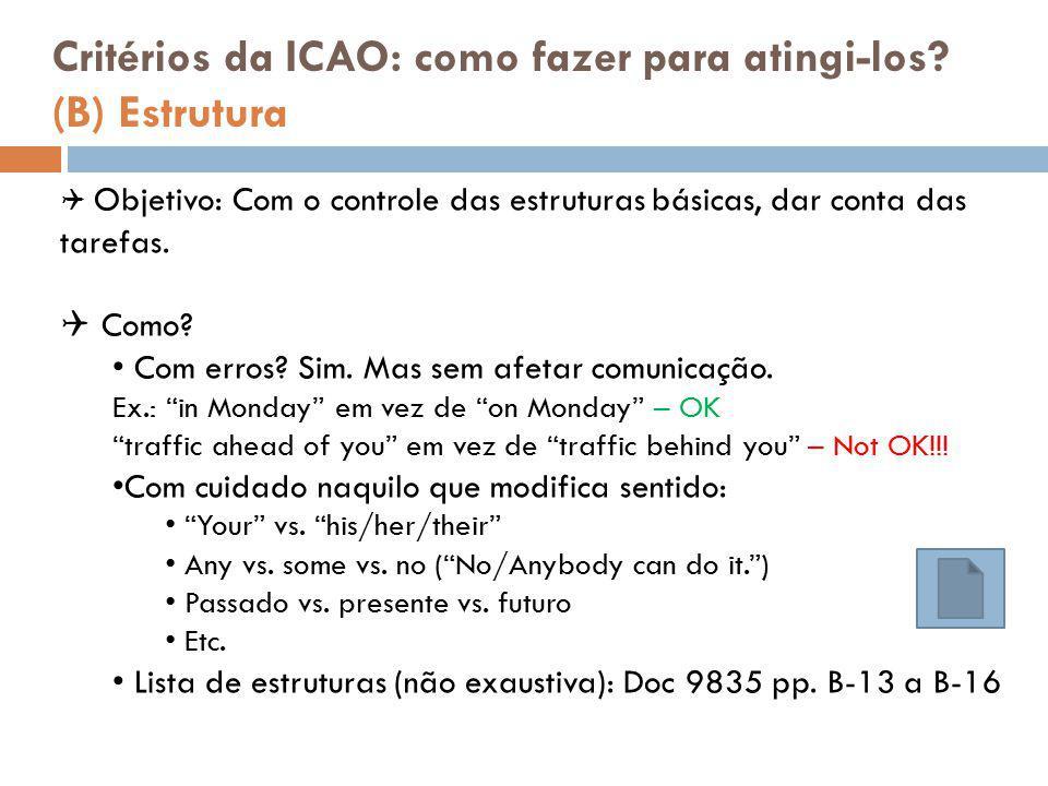 Critérios da ICAO: como fazer para atingi-los (B) Estrutura