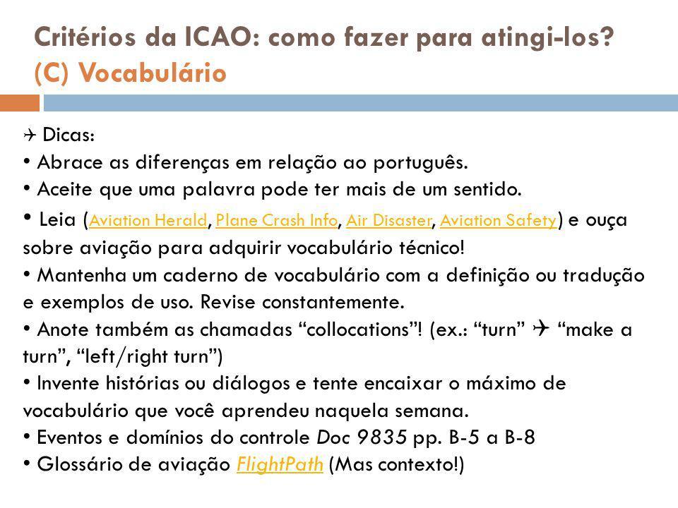 Critérios da ICAO: como fazer para atingi-los (C) Vocabulário