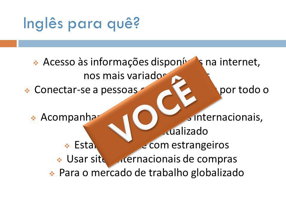 VOCÊ Inglês para quê Acesso às informações disponíveis na internet,