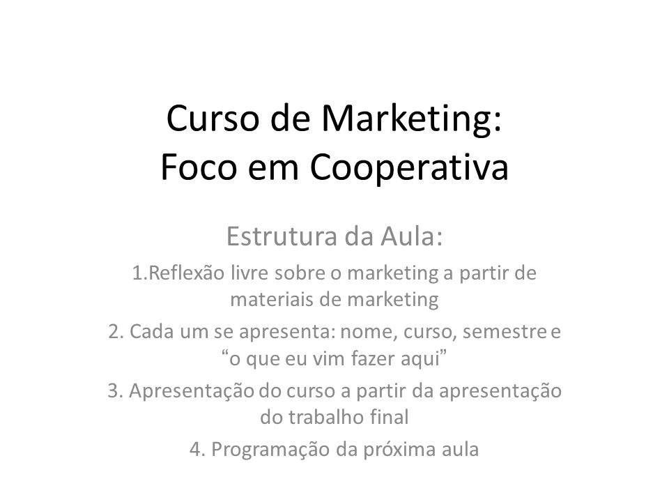 Curso de Marketing: Foco em Cooperativa