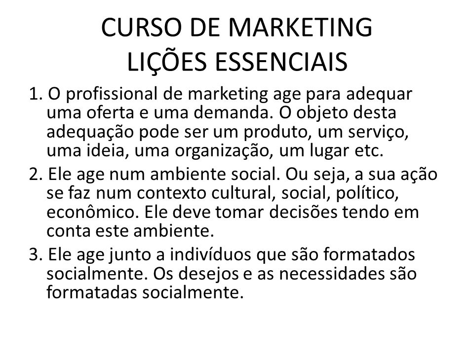 CURSO DE MARKETING LIÇÕES ESSENCIAIS