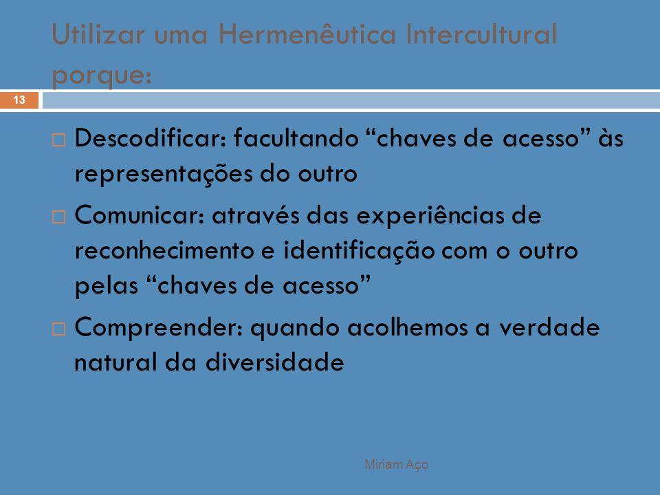 Utilizar uma Hermenêutica Intercultural porque: