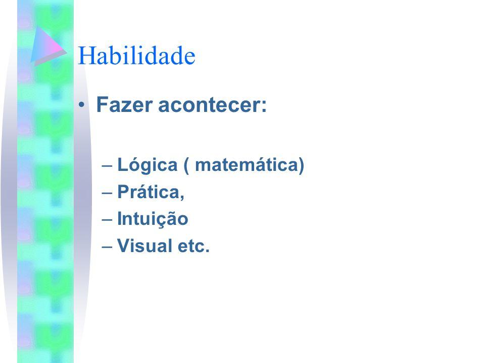 Habilidade Fazer acontecer: Lógica ( matemática) Prática, Intuição