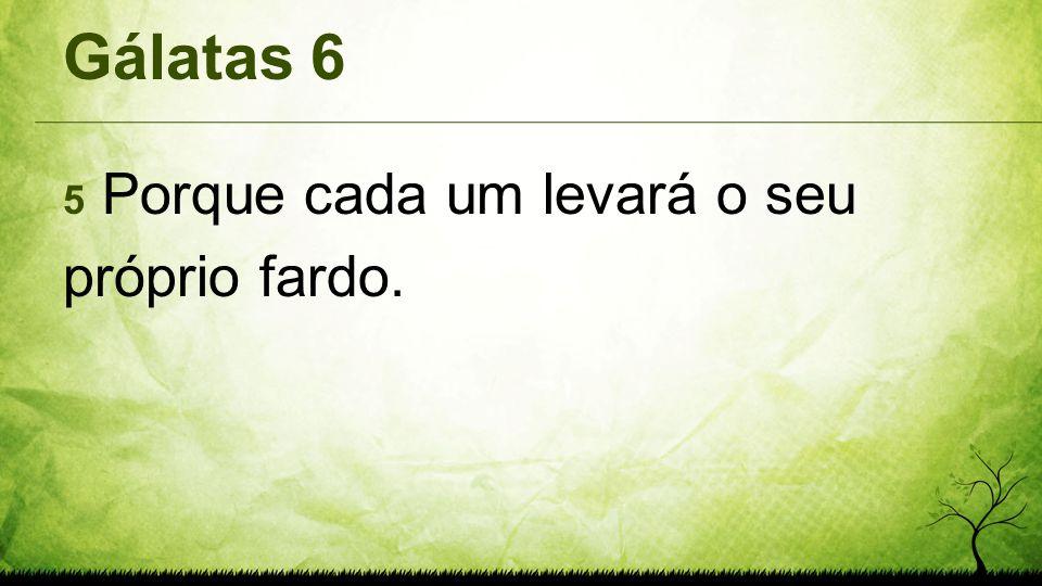 Gálatas 6 5 Porque cada um levará o seu próprio fardo.