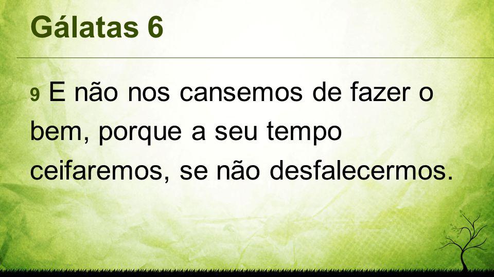 Gálatas 6 9 E não nos cansemos de fazer o bem, porque a seu tempo ceifaremos, se não desfalecermos.