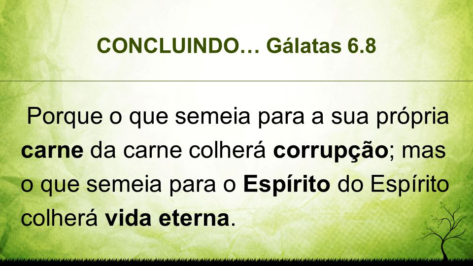 CONCLUINDO… Gálatas 6.8