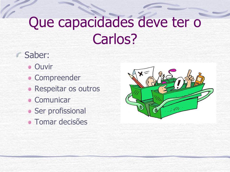 Que capacidades deve ter o Carlos