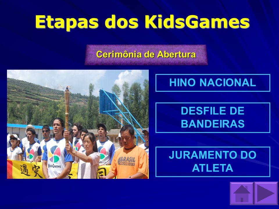 Etapas dos KidsGames HINO NACIONAL DESFILE DE BANDEIRAS