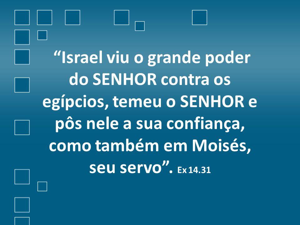 Israel viu o grande poder do SENHOR contra os egípcios, temeu o SENHOR e pôs nele a sua confiança, como também em Moisés, seu servo .