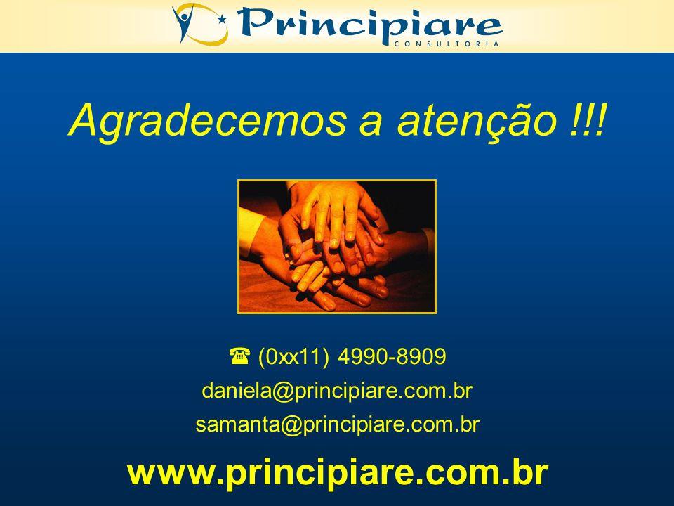 Agradecemos a atenção !!! www.principiare.com.br  (0xx11) 4990-8909
