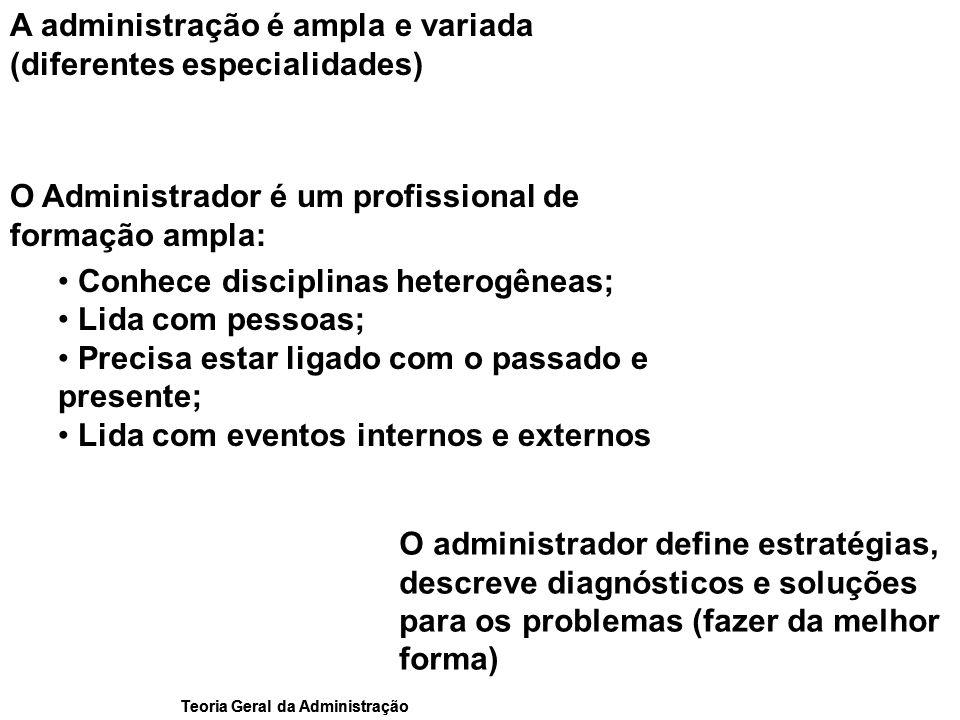 A administração é ampla e variada