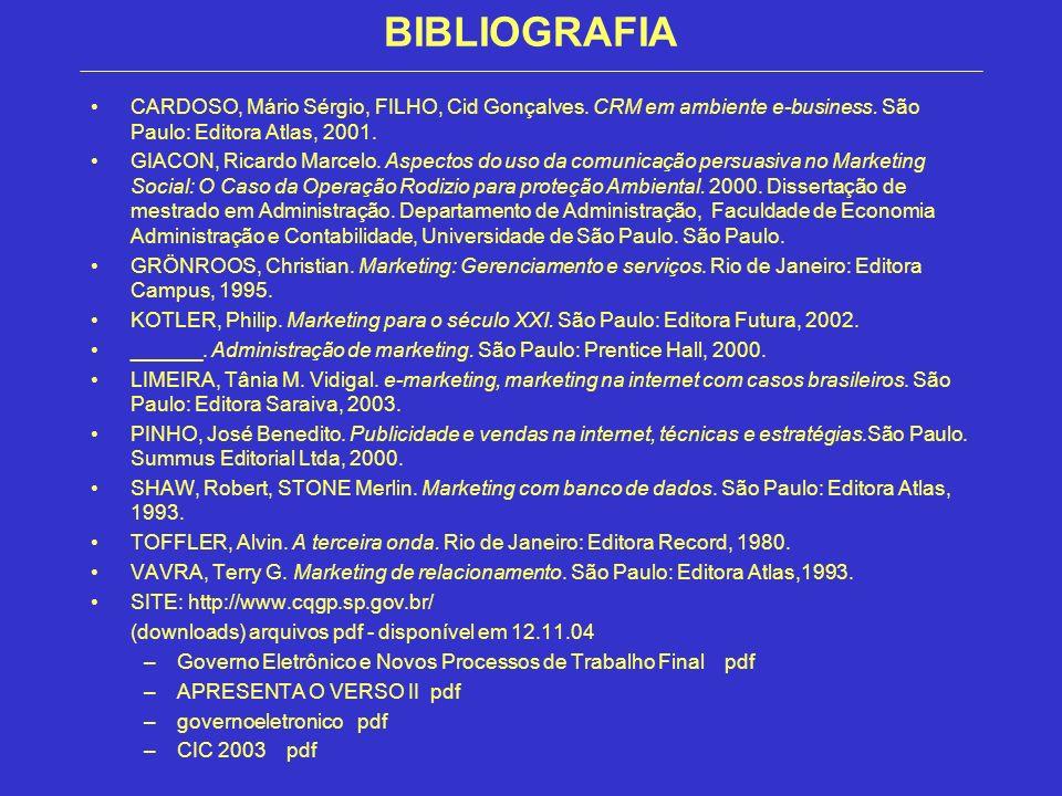 BIBLIOGRAFIACARDOSO, Mário Sérgio, FILHO, Cid Gonçalves. CRM em ambiente e-business. São Paulo: Editora Atlas, 2001.