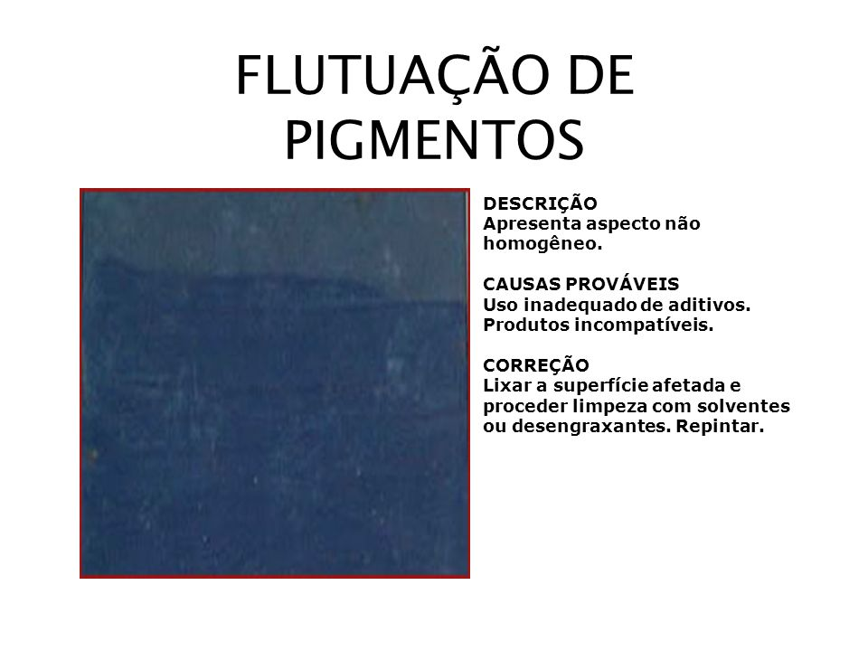 FLUTUAÇÃO DE PIGMENTOS