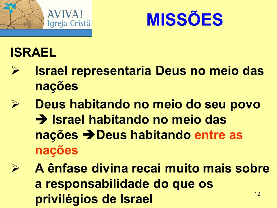 MISSÕES ISRAEL Israel representaria Deus no meio das nações