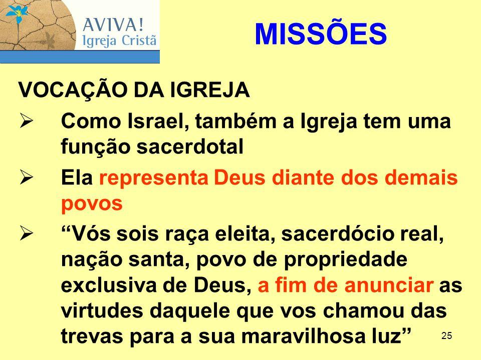 MISSÕES VOCAÇÃO DA IGREJA
