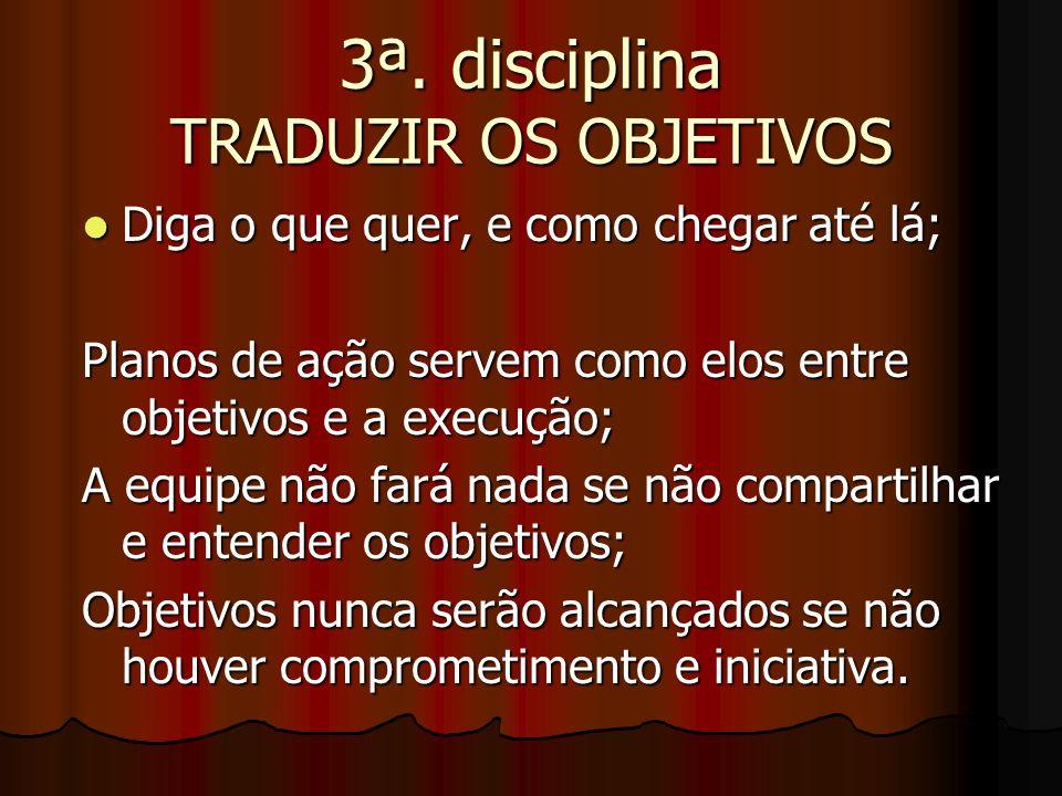 3ª. disciplina TRADUZIR OS OBJETIVOS