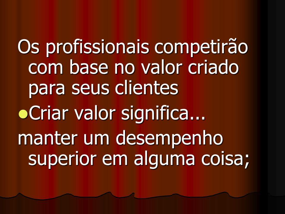 Os profissionais competirão com base no valor criado para seus clientes