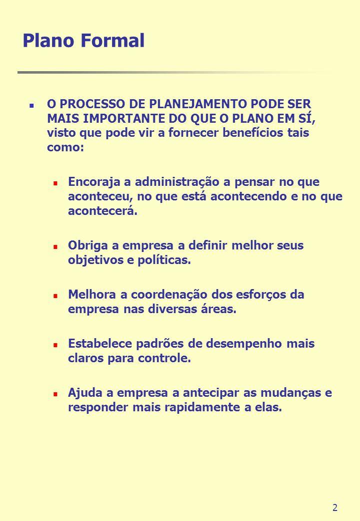 Plano Formal O PROCESSO DE PLANEJAMENTO PODE SER MAIS IMPORTANTE DO QUE O PLANO EM SÍ, visto que pode vir a fornecer benefícios tais como: