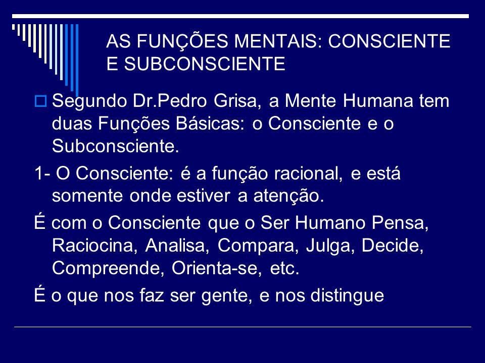 AS FUNÇÕES MENTAIS: CONSCIENTE E SUBCONSCIENTE