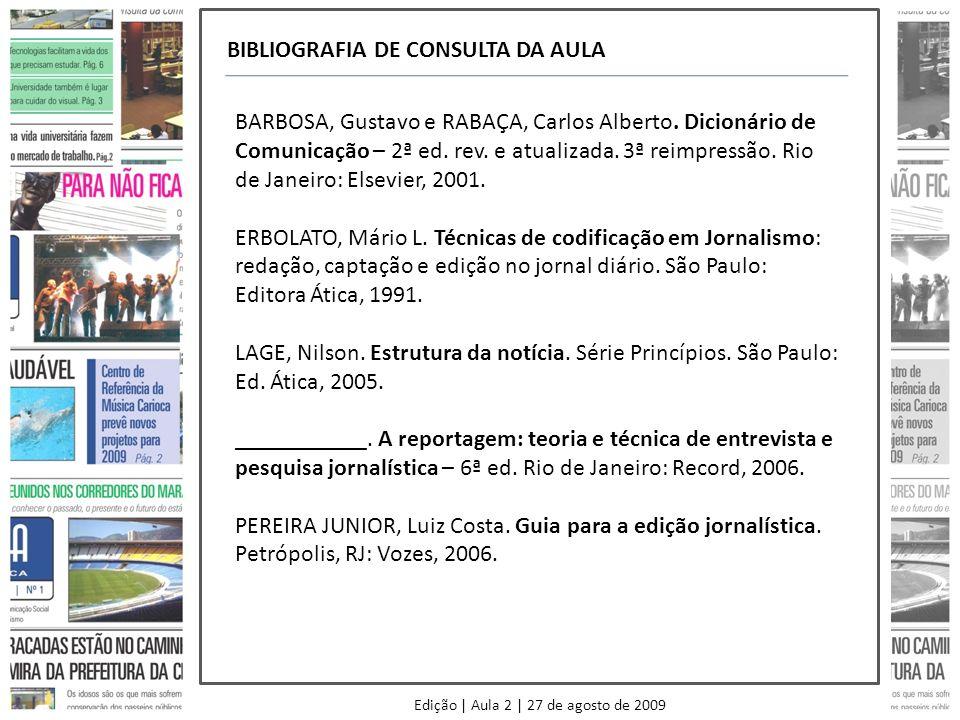 Edição | Aula 2 | 27 de agosto de 2009