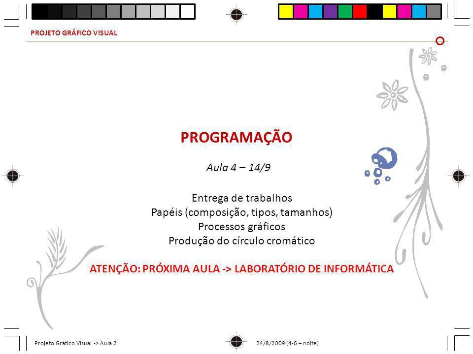 ATENÇÃO: PRÓXIMA AULA -> LABORATÓRIO DE INFORMÁTICA
