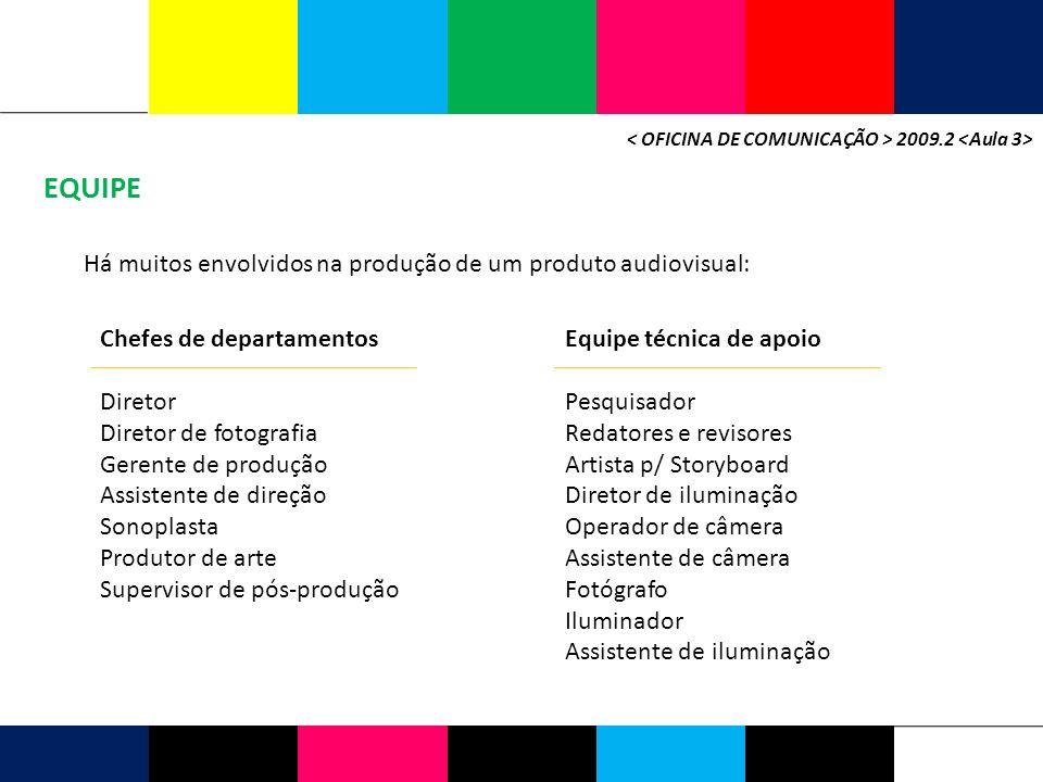 EQUIPE Há muitos envolvidos na produção de um produto audiovisual: