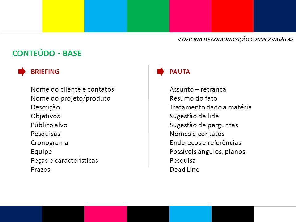 CONTEÚDO - BASE BRIEFING PAUTA Nome do cliente e contatos