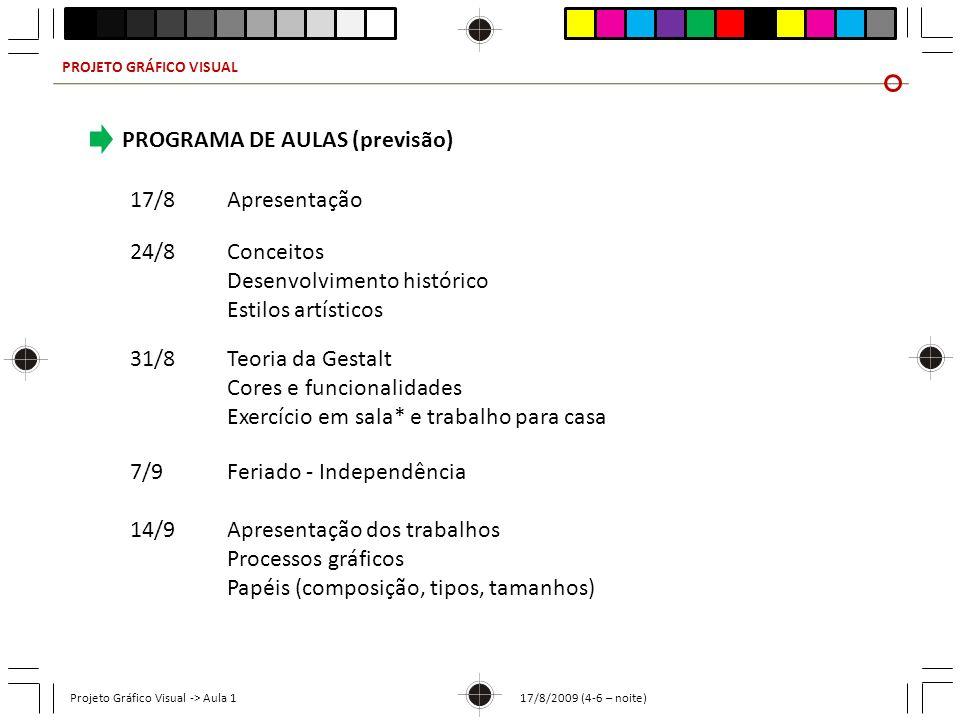 PROGRAMA DE AULAS (previsão)