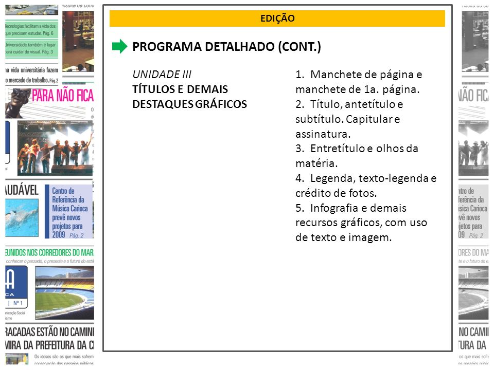 PROGRAMA DETALHADO (CONT.)