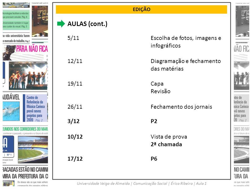 AULAS (cont.) 5/11 Escolha de fotos, imagens e infográficos 12/11