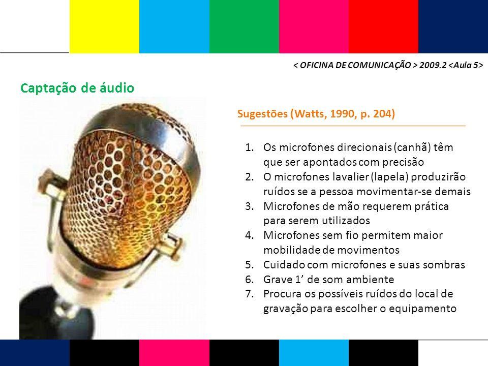 Captação de áudio Sugestões (Watts, 1990, p. 204)