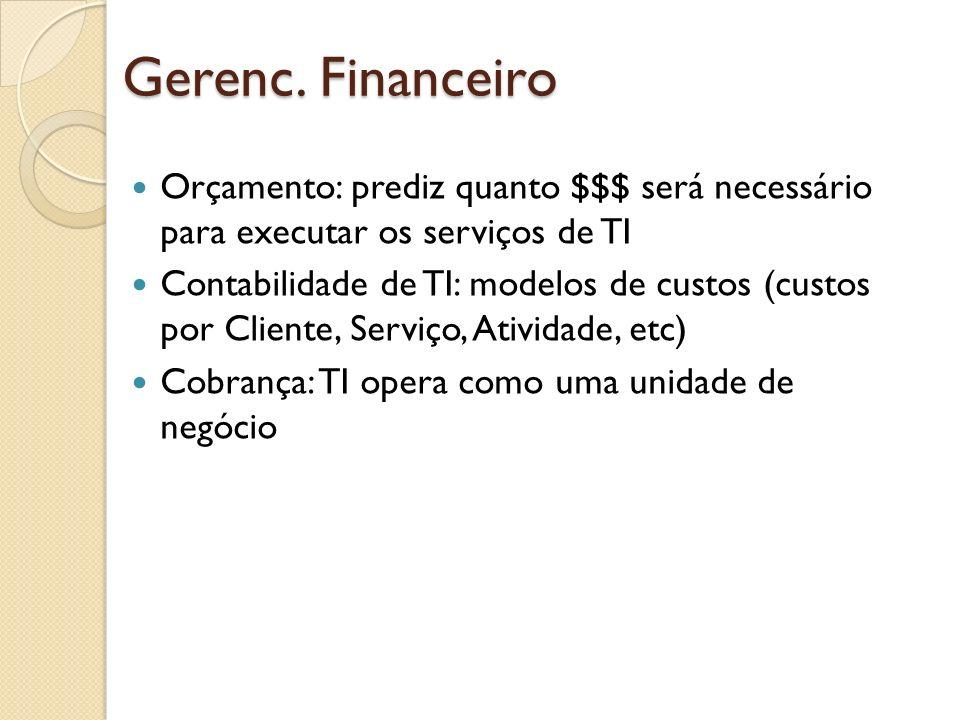 Gerenc. Financeiro Orçamento: prediz quanto $$$ será necessário para executar os serviços de TI.