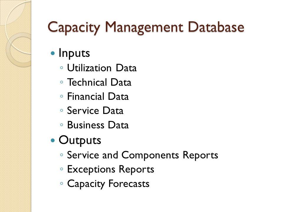 Capacity Management Database