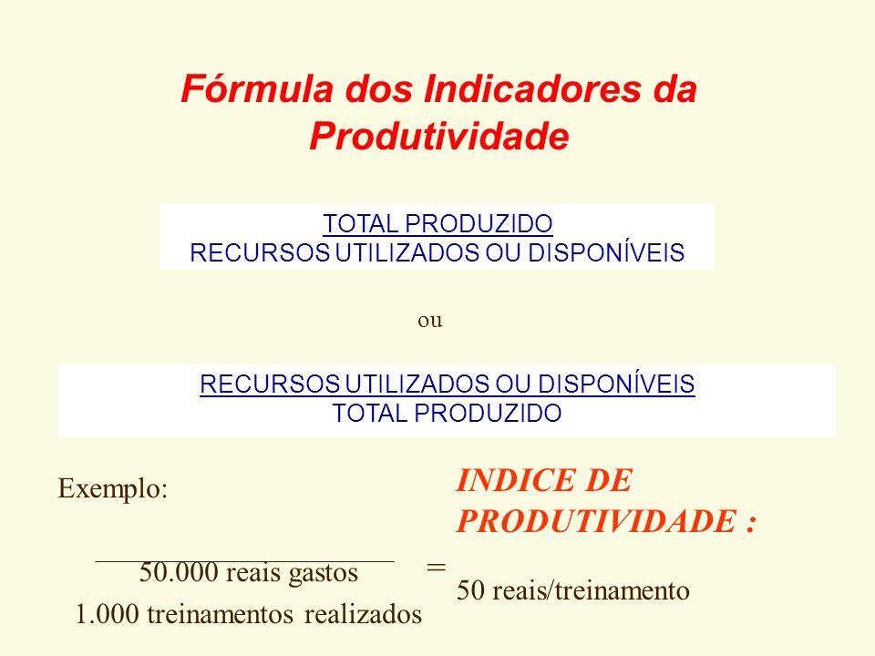 Fórmula dos Indicadores da Produtividade