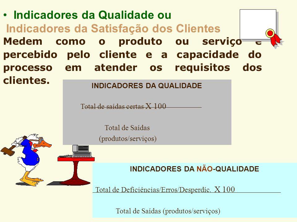 Indicadores da Qualidade ou Indicadores da Satisfação dos Clientes