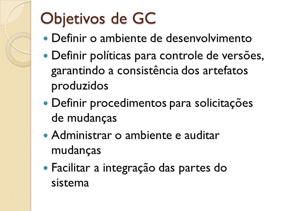 Objetivos de GC Definir o ambiente de desenvolvimento