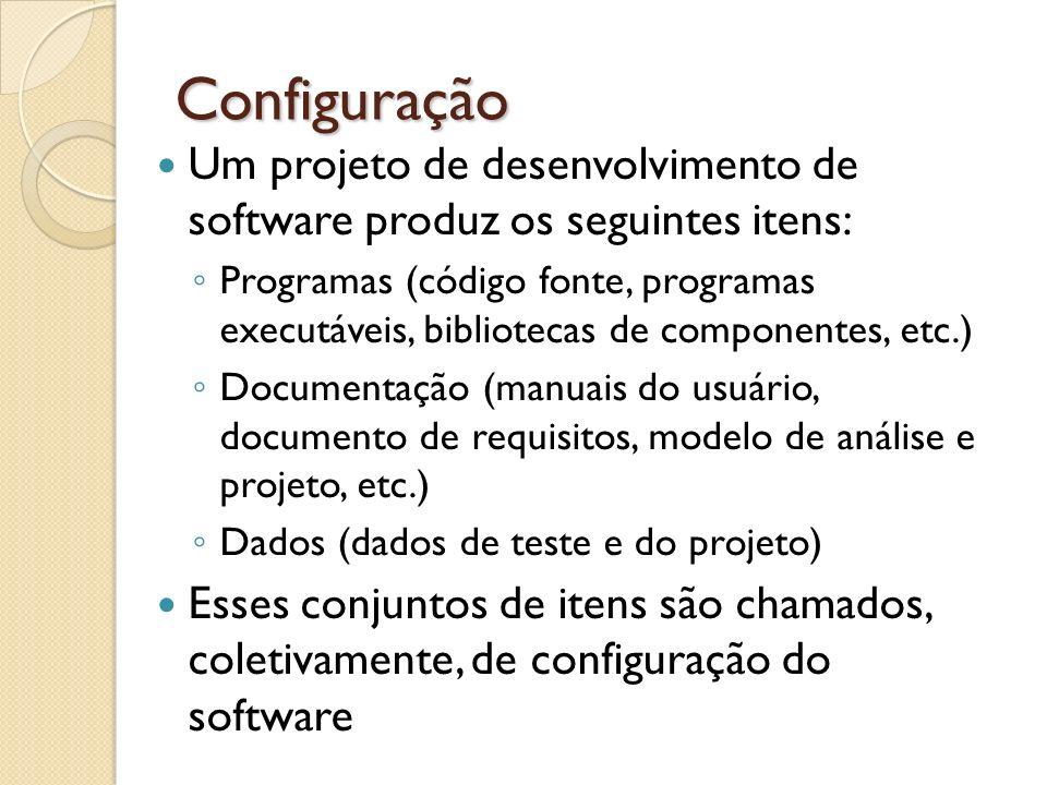 Configuração Um projeto de desenvolvimento de software produz os seguintes itens: