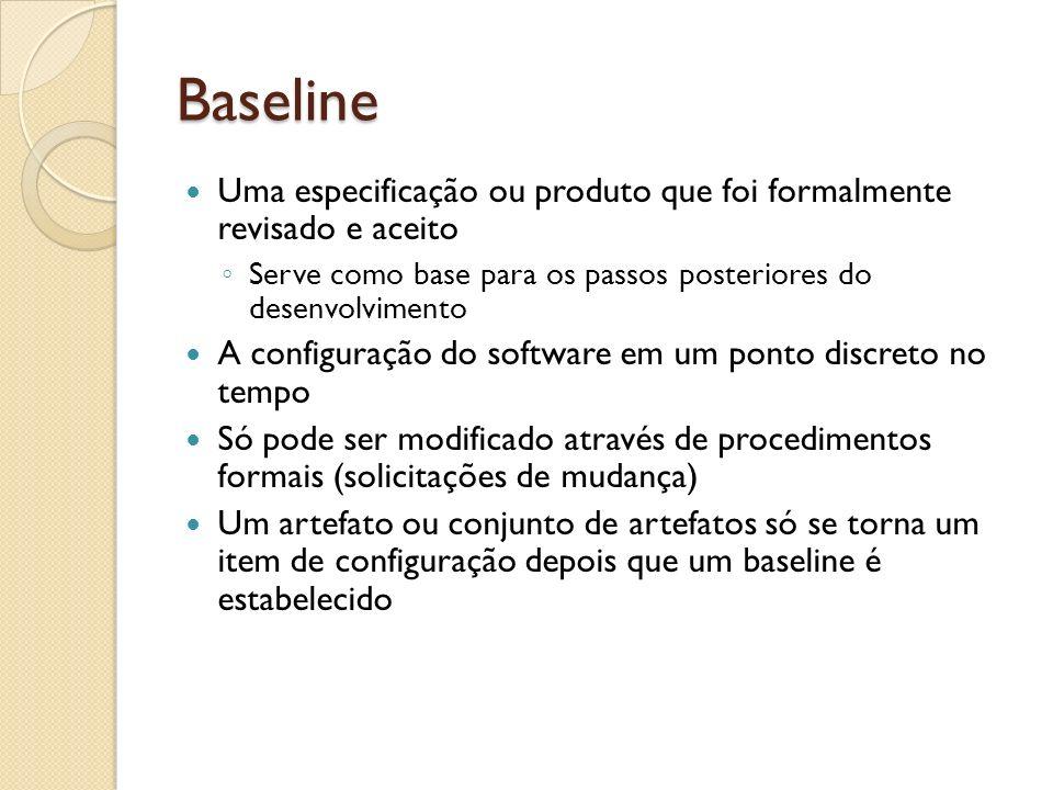 Baseline Uma especificação ou produto que foi formalmente revisado e aceito. Serve como base para os passos posteriores do desenvolvimento.