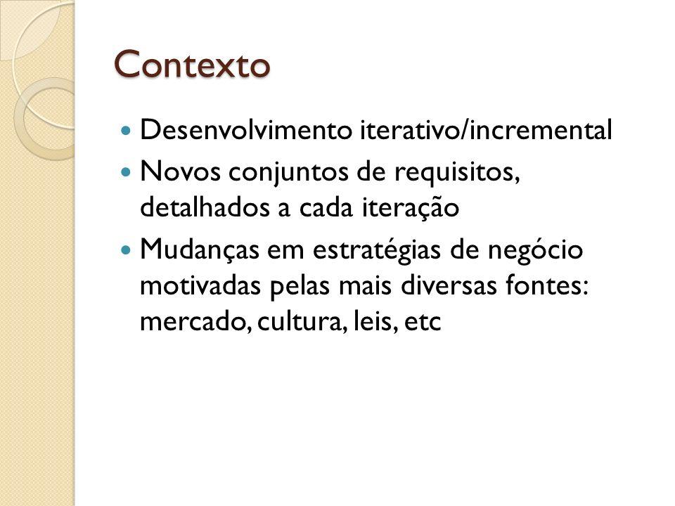 Contexto Desenvolvimento iterativo/incremental