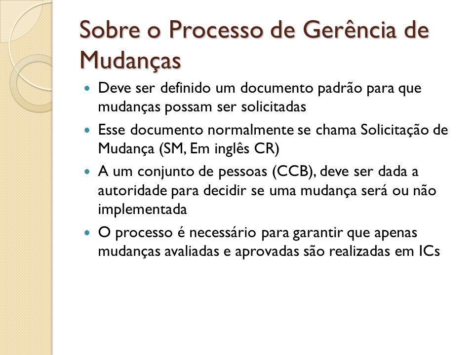 Sobre o Processo de Gerência de Mudanças