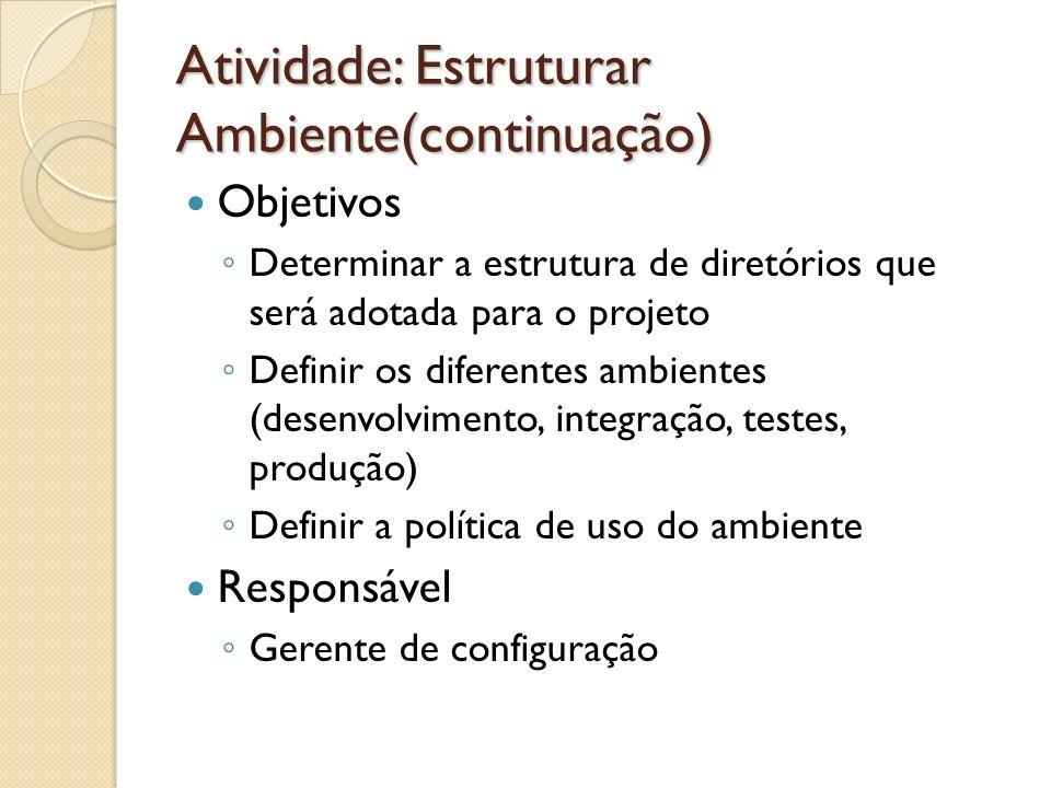 Atividade: Estruturar Ambiente(continuação)