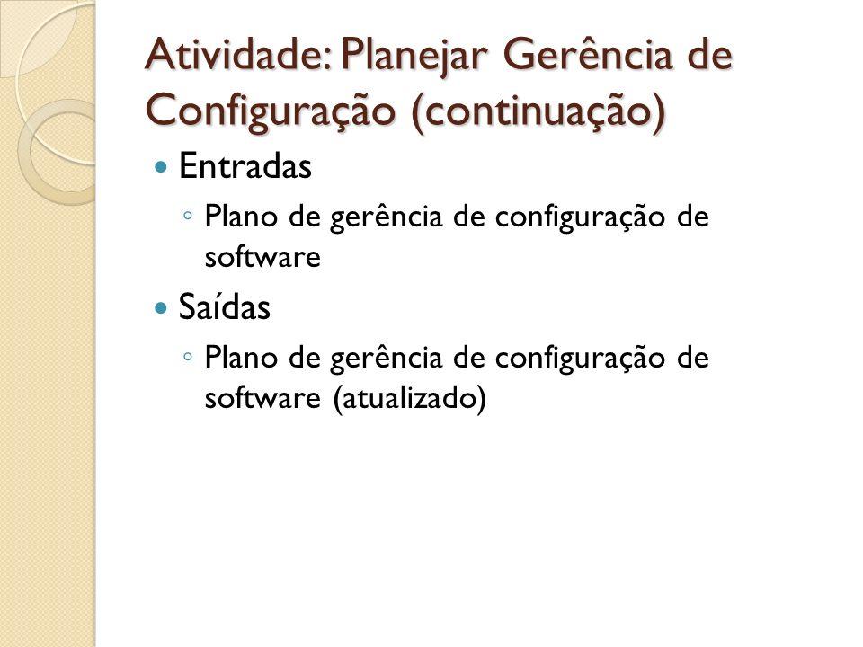 Atividade: Planejar Gerência de Configuração (continuação)