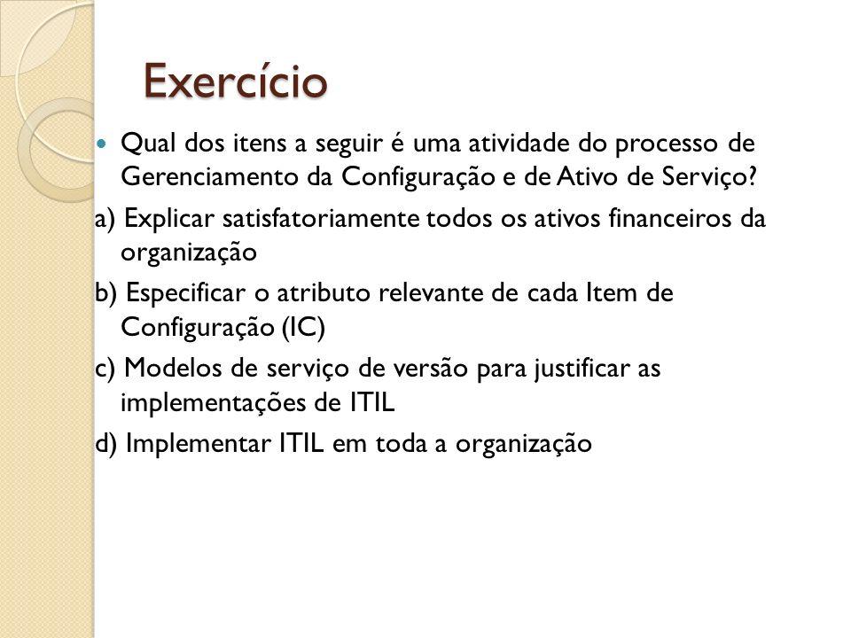 Exercício Qual dos itens a seguir é uma atividade do processo de Gerenciamento da Configuração e de Ativo de Serviço