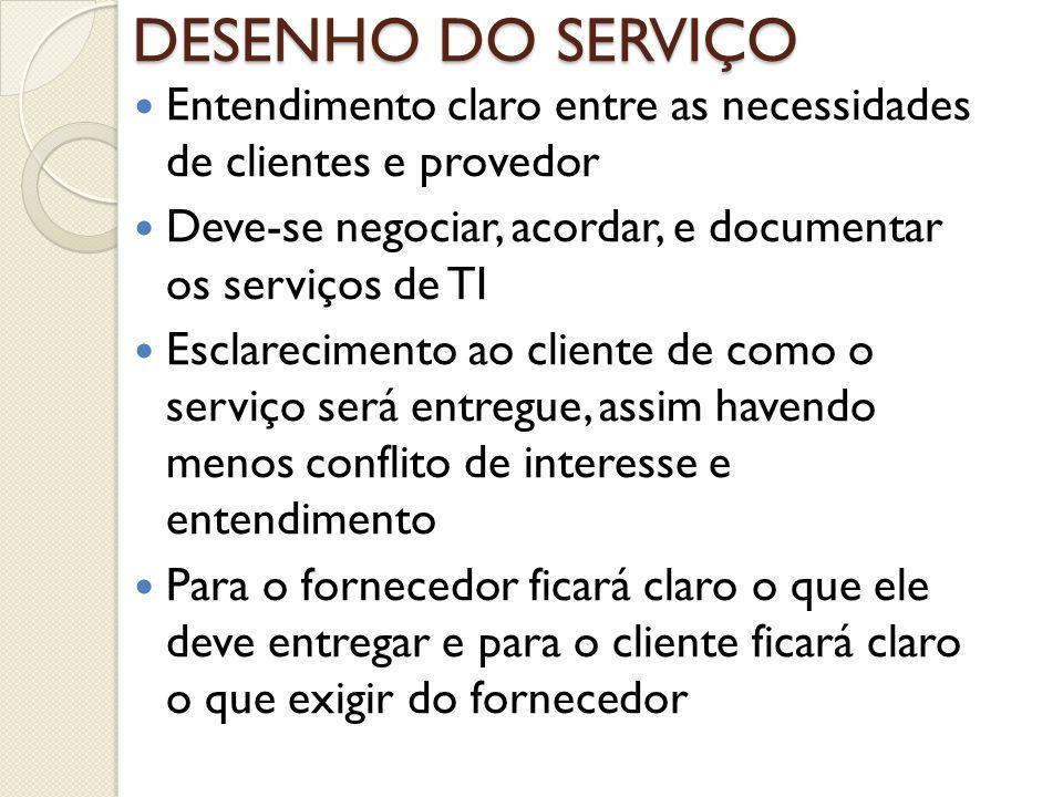 DESENHO DO SERVIÇO Entendimento claro entre as necessidades de clientes e provedor. Deve-se negociar, acordar, e documentar os serviços de TI.