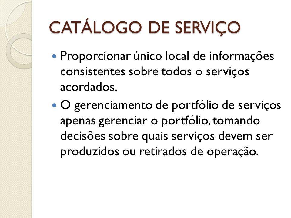 CATÁLOGO DE SERVIÇO Proporcionar único local de informações consistentes sobre todos o serviços acordados.