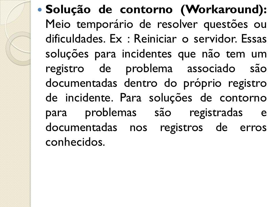 Solução de contorno (Workaround): Meio temporário de resolver questões ou dificuldades.