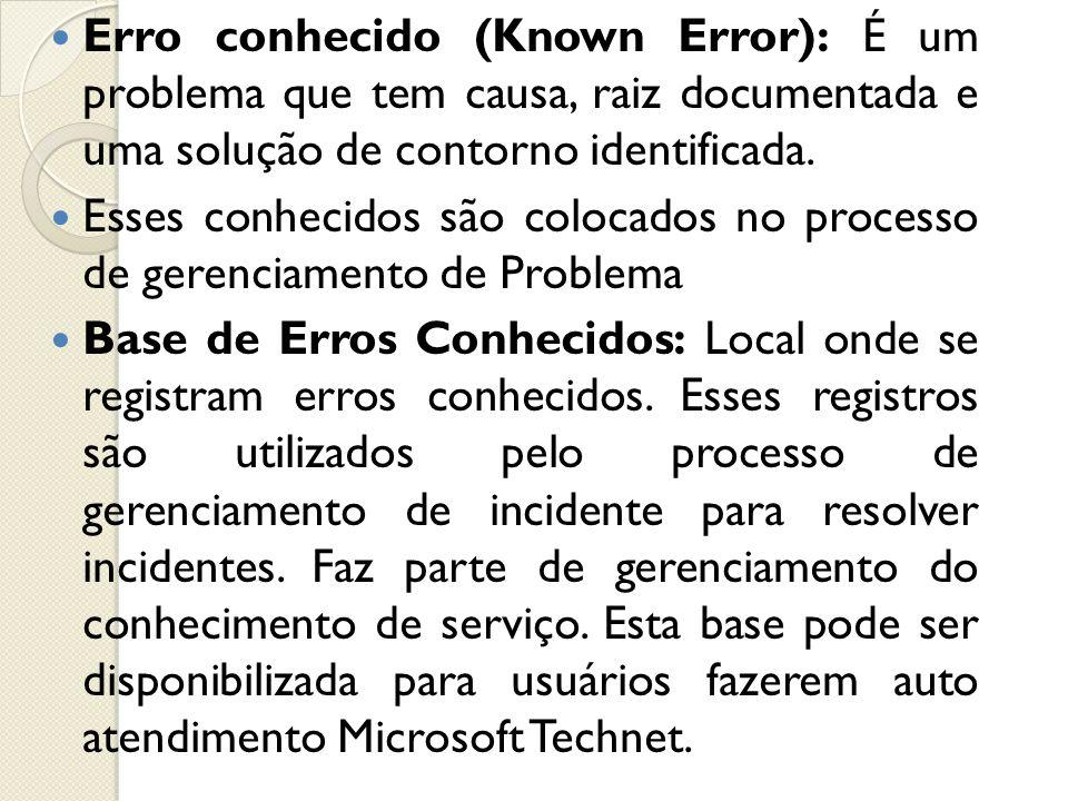 Erro conhecido (Known Error): É um problema que tem causa, raiz documentada e uma solução de contorno identificada.