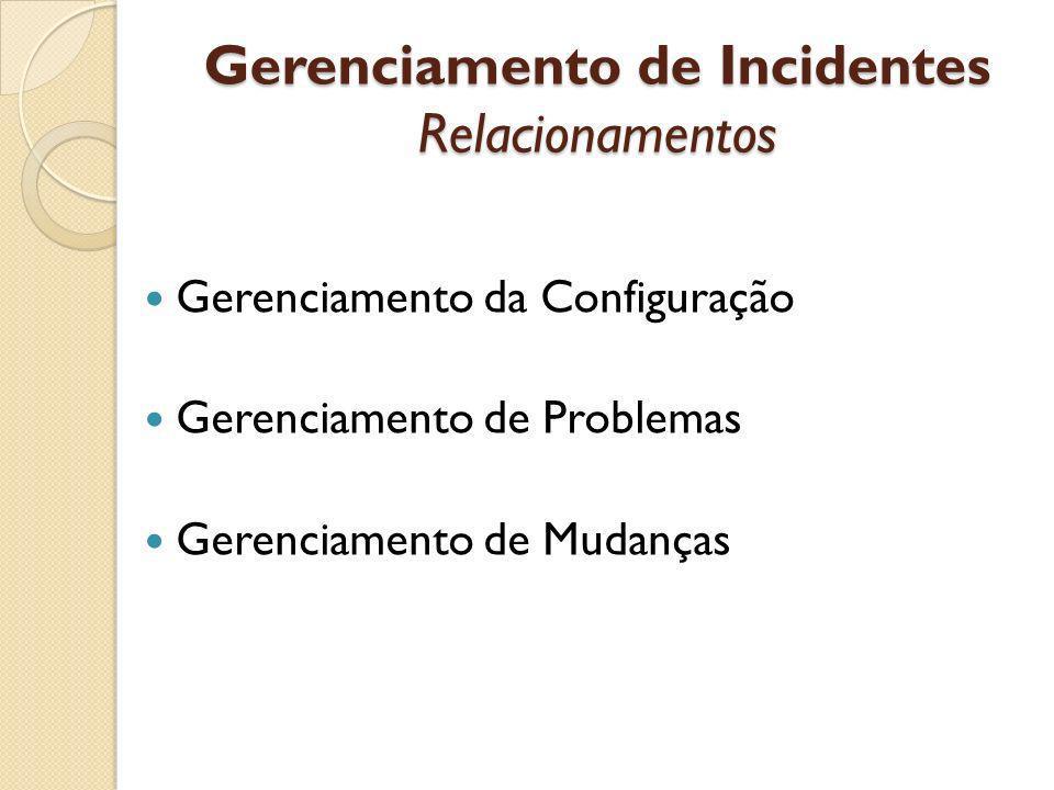Gerenciamento de Incidentes Relacionamentos